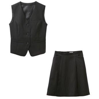 【事務服。ベストスーツ】2点セット(ベスト+フレアスカート)(選べる2レングス) (大きいサイズレディース)事務服,women's suits ,plus size