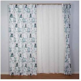 【お取寄せ商品】ユニベール Birdie 形状記憶カーテン もりのきつね 100×135cm 2枚組