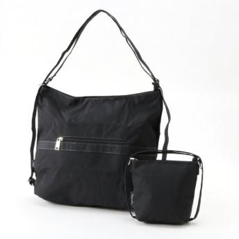 バッグ カバン 鞄 レディース リュック コンパクトになる2WAYリュックサック カラー 「ブラック」