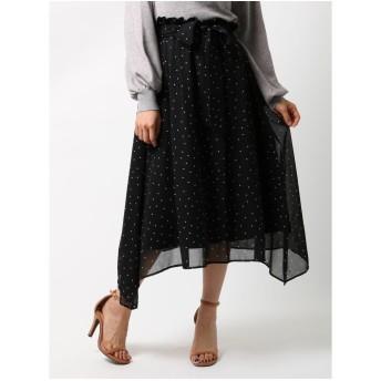 MERCURYDUO ランダムドットイレヘムロングスカート(ブラック)