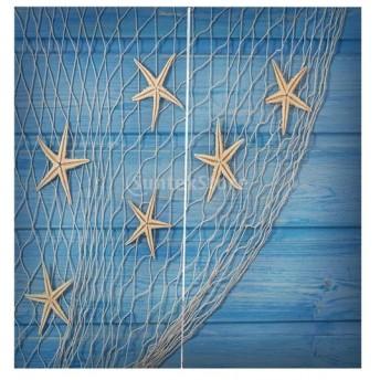 Perfeclan 3D 海の景色 窓カーテン 遮光 ウィンドウカーテン リビングルーム 装飾 新築祝い 全15パターン - ヒトデネット, 166x150cm