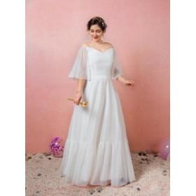 大きいサイズ/編み上げ/ウェディングドレス/ロングドレス/オフショルダー/袖付き/スレンダー/ぽっちゃり/XL~7XL/ホワイト/fh56