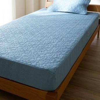 布団カバー シーツ パッド一体型ベッド用シーツ ベルメゾン フレンチリネンウォッシュキルトボックスシーツ型敷きパッド アッシュブルー シングル