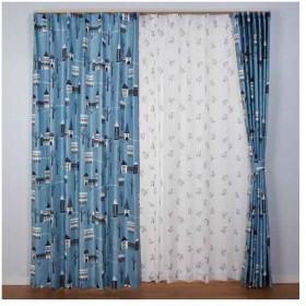 【お取寄せ商品】ユニベール Birdie 形状記憶カーテン ながぐつをはいたねこ ブルー 100×135cm 2枚組