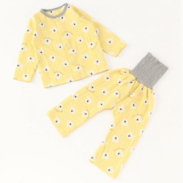 ベビー服 パジャマ 男の子・女の子総柄腹巻付きキルトパジャマ ベビー  「イエロー」