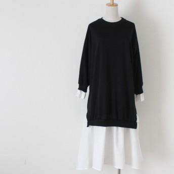 【送料無料】黒と白のコントラストが美しい バイカラーのワンピース