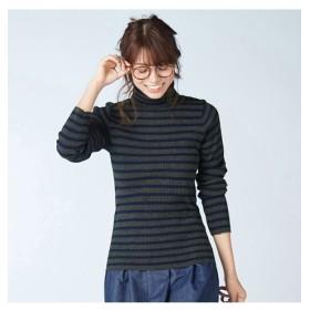 【新色追加】衿ボタン開きリブ編タートルネックセーター (ニット・セーター)(レディース)