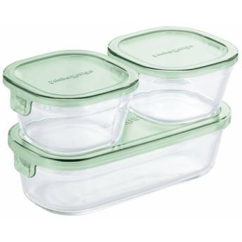 保存容器 おしゃれ 耐熱ガラス iwaki 角型3点セット グリーン PSC-PRN3G2  (D)
