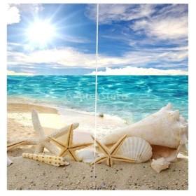 3D 海の景色 窓カーテン 遮光 ウィンドウカーテン リビングルーム 装飾 新築祝い 全15パターン  - ヒトデ, 166x150cm