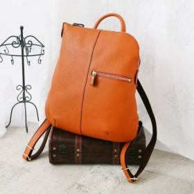 バッグ カバン 鞄 レディース リュック シンプルで合わせやすいレザーリュック カラー 「オレンジ」