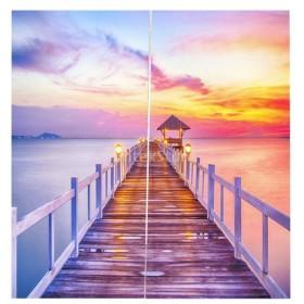 3D 海の景色 窓カーテン 遮光 ウィンドウカーテン リビングルーム 装飾 新築祝い 全15パターン  - 薔薇色の雲, 166x150cm
