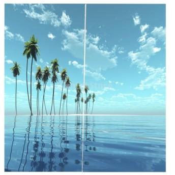 3D 海の景色 窓カーテン 遮光 ウィンドウカーテン リビングルーム 装飾 新築祝い 全15パターン - ヤシの木の海, 166x150cm