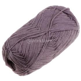 50g 柔らかい 手編み糸 赤ちゃん 滑らかな 綿糸 コットン 全7色 - グレー