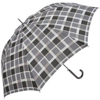 ニフティカラーズ(Nifty Colors) メンズ レディース 長傘 ジャンプ ブロックチェック グレー 8本骨 65cm 5085 傘 通勤通学 雨具 レイングッズ 雨傘 ジャンプ