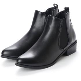 イタリコ ITALICO シンプルローヒール サイドゴアショートブーツ (ブラックスムース)