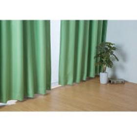 川島織物セルコン 1.5倍ヒダ 2つ山 裏地付1級遮光カーテン 幅100×丈105cm グリーン 1セット(2枚) (直送品)
