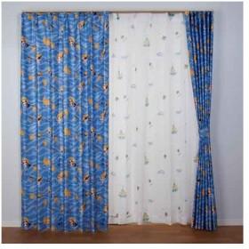 【お取寄せ商品】ユニベール Birdie 形状記憶カーテン にんぎょひめ ブルー 100×135cm 2枚組