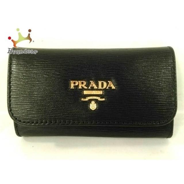 the latest 2039f 9218b プラダ PRADA キーケース 美品 - 黒×ゴールド 6連フック/型押し ...