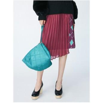 LAGUNAMOON Modernアーガイルシースルーラップスカート(パープル)