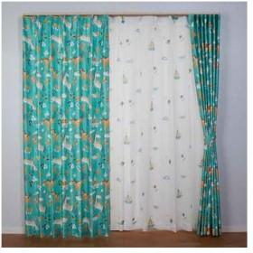 【お取寄せ商品】ユニベール Birdie 形状記憶カーテン ユニコーン グリーン 100×135cm 2枚組