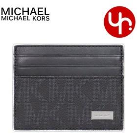 b32651f1c471 マイケルコース MICHAEL KORS 小物 カードケース 36H7LMND1U ブラック×ホワイト シグネチャー トール カード ケース  アウトレット