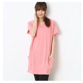 サンカンシオン 3can4on フレンチスリーブ裏毛ワンピース (ピンク)