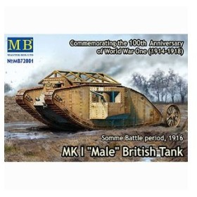 マスターボックス 1/ 72 英マーク I型菱形戦車-雄型(57mm砲搭載)1916年(MB72001)プラモデル 返品種別B