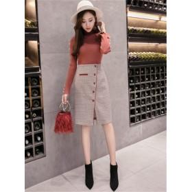 [55555SHOP]この季節に大活躍 大人の魅力 秋冬 チェック柄 スプリット スカート