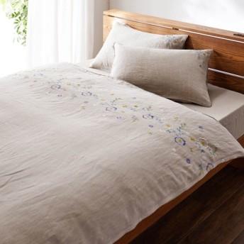 ベルメゾン フレンチリネンの刺繍布団カバー3点セット 「ベージュ」