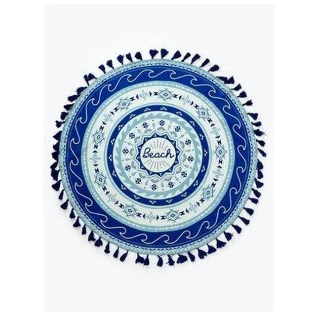 【Kahiko】ビーチマンダラサークルラグマット フリンジ付きラウンドクロス 直径約150cm ブルー