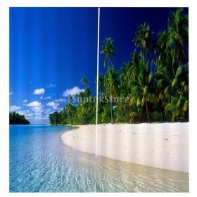 3D 海の景色 窓カーテン 遮光 ウィンドウカーテン リビングルーム 装飾 新築祝い 全15パターン  - シーサイド, 166x150cm