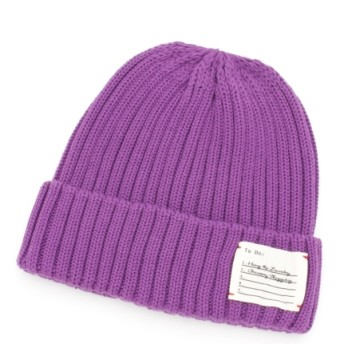 【大きいサイズレディース】23色展開綿混カラーニット帽(UNI WATCH) 帽子 ニット帽
