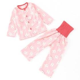 ベビー服 パジャマ 男の子・女の子総柄腹巻付きキルトパジャマ ベビー  「薄ピンク」