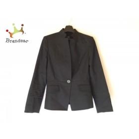 ニジュウサンク 23区 ジャケット サイズ36 S レディース 美品 黒 肩パッド/ストライプ           スペシャル特価 20190531