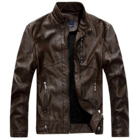 C66【送料無料】メンズ 美品レザージャケット 革ブルゾン ライダース 革ジャケット 裏ボア 3色可選