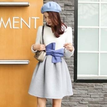 ガーリー 韓国ワンピース 秋 秋服 秋コーデ ホワイト 白 リボン 可愛い フレアスカート デート お出かけ