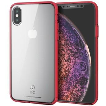 ELECOM PM-A18BHVCG1RD iPhone XS ハイブリッドケース ガラス スタンダード クリアレッド ケース・カバー