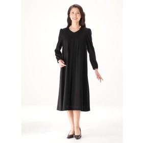 【大きいサイズレディース】レース衿ブラックフォーマルワンピース ブラックフォーマル・礼服・喪服 セット
