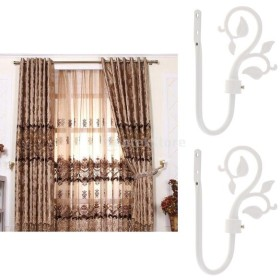 2個 U形 金属葉 カーテンフック 窓ドレープ タイバック ハンガー エレガント 雰囲気 全3色 - 白