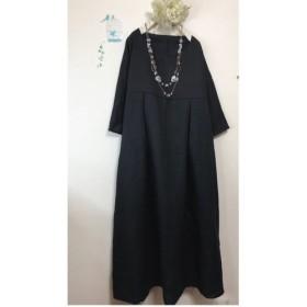リネン100% ワンピース 黒 ロング丈 フォーマル 卒業生 入学式 冠婚葬祭 服