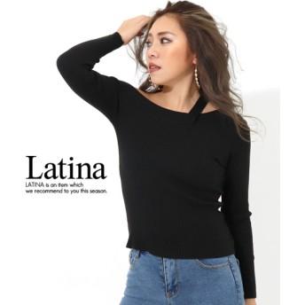 anap Latina アナップラティーナ スラッシュデザインリブニットトップス