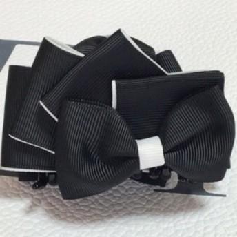 リボン(扇) バンスクリップ 黒白 バイカラー