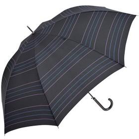 ニフティカラーズ(Nifty Colors) メンズ レディース 長傘 ジャンプ ネオン ボーダー ブラック 8本骨 65cm 5077 傘 通勤通学 雨具 レイングッズ 雨傘 ジャンプ