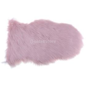 ポリエステル フロアマット ラグ 敷物 カーペット シープスキン フワフワ 人工ファー ソフト 40x60cm 多色可選択 - ライトピンク