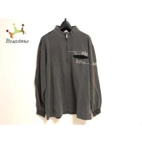 アダバット Adabat 長袖ポロシャツ サイズ48 XL メンズ ダークグレー×白 ボーダー   スペシャル特価 20190710