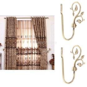 2個 U形 金属葉 カーテンフック 窓ドレープ タイバック ハンガー エレガント 雰囲気 全3色 - ブロンズ