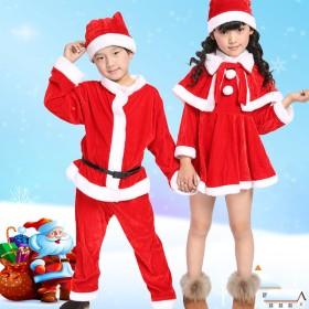 【送料無料】新作 人気 サンタ キッズ コスプレ 女の子 男の子 かわいい 子どもサンタ コス サンタコス ワンピース パンツ 帽子 ポンチョ ケープ サンタクロース 衣装 クリパ クリスマス コスチ