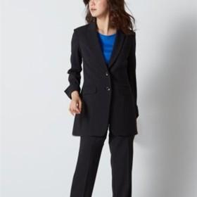 防汚加工すごく伸びるもっとロング丈パンツスーツ(ストレッチ総裏地) (大きいサイズレディース)スーツ