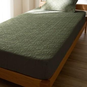 布団カバー シーツ パッド一体型ベッド用シーツ ベルメゾン フレンチリネンウォッシュキルトボックスシーツ型敷きパッド オリーブ シングル