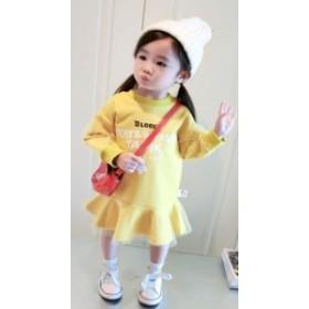 【KIDS】派手色がカワイイ ロゴ入りトレーナーワンピース チュール付き 袖コンシャス ビタミンカラー フリルスカート
